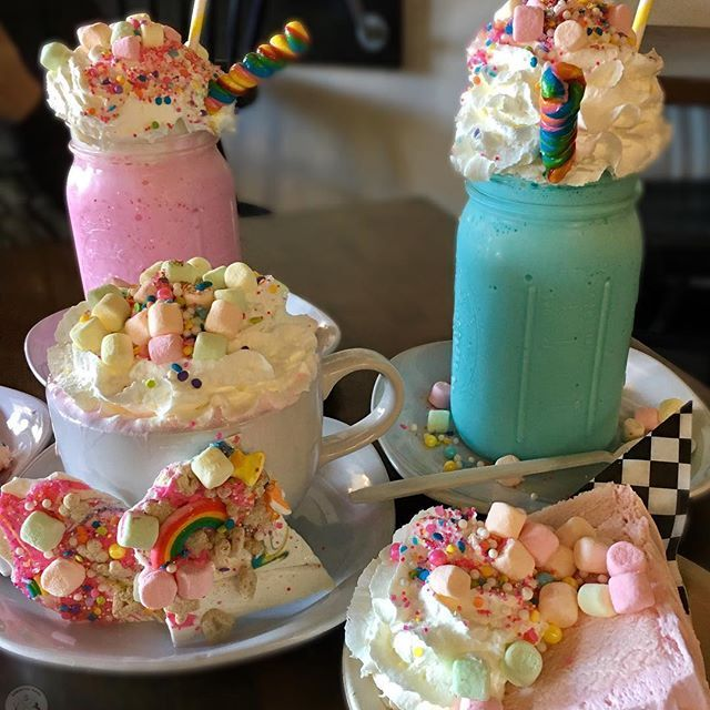 Unicorn Cafe!  You guys. I'm at a cafe that serves the most incredible treats fit for a unicorn!!! This is literally sitting right in front of us right now. We have unicorn shakes, unicorn hot chocolate, unicorn cake, unicorn bark.... I think I've died and gone to unicorn heaven. What a way to end this trip. If you're ever in So Cal (it's located in Anaheim Hills), you guys have GOT to check this place out!!