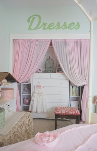 Closet Curtains - perfect way to fit her dresser in the room. Small room but has two closets.