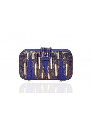 Metallic Blue Faux Leather Clutch