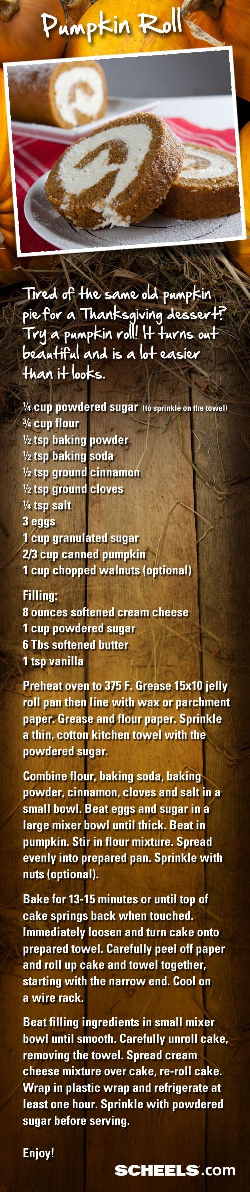 Pumpkin fans: Bring this fun, tasty dessert to your Thanksgiving dinner: Pumpkin Roll. // Recipe from #Scheels Gramma Ginna's Deli #recipe #pumpkin