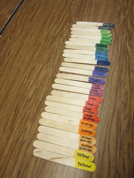 Easy way to assign partners. Each student chooses a stick and partners up with their color match.