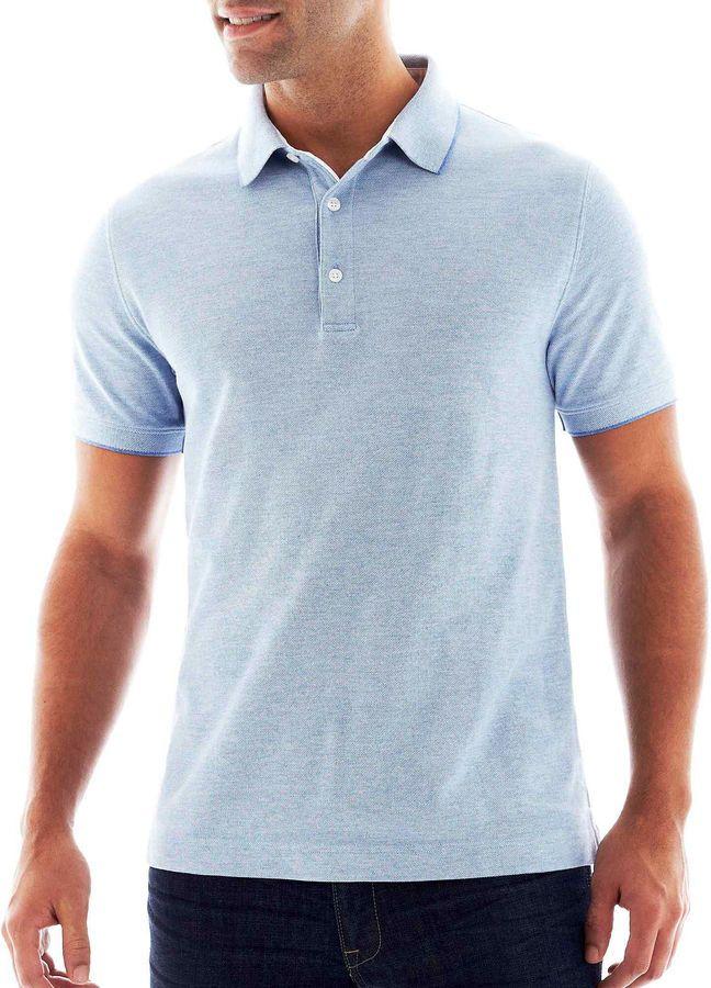CLAIBORNE Claiborne 2-Tone Piqu Polo Shirt