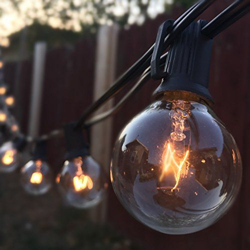 G40 String Lights With 25 Clear Globe Bulbs UL Listed, Vintage Backyard Patio  Lights,