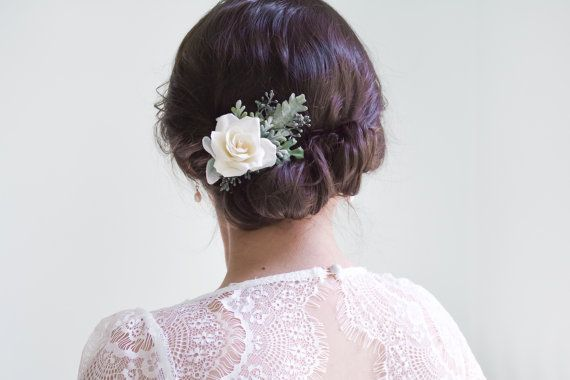 bruiloft hair clip ivoor bloem clip, bruids hair clip, floral hair clip, roos haar clip, ivoor bloem haar clip, bloem haar clip - CLAIRE