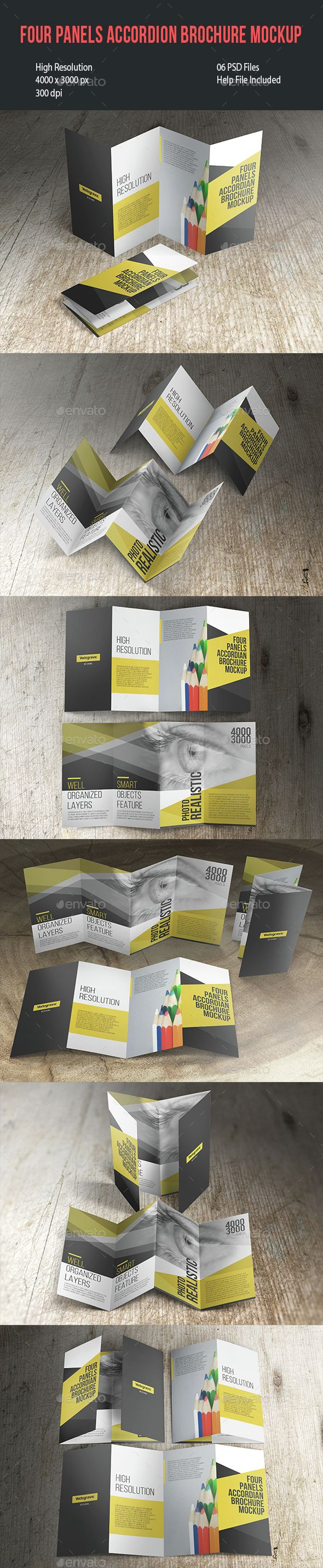 Four Panels Accordion Brochure Mockup. Download here: graphicriver.net/...