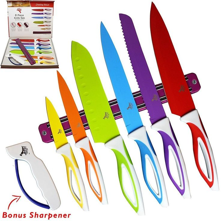 Top Chef Knife Set 6 Piece Plus Sharpener And Magnetic Strip Best Kitchen Colors #LeDish