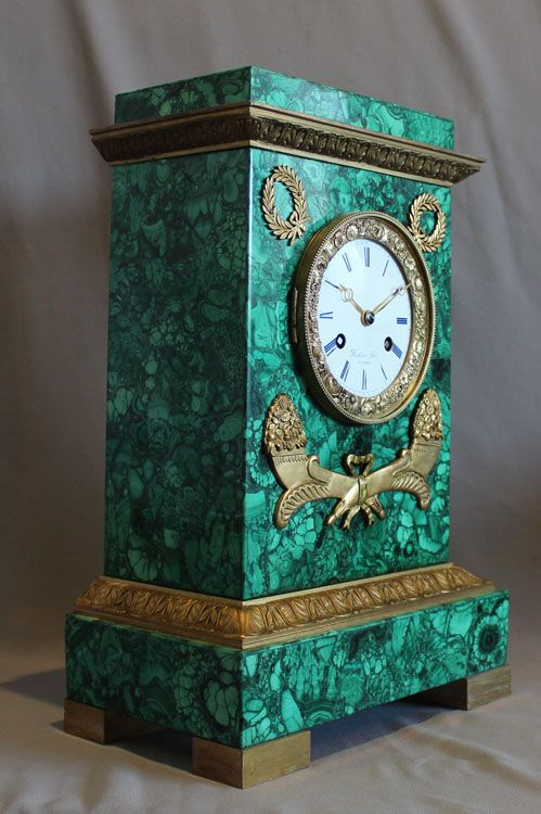 antique malachite u0026 ormolu clock by rodier of paris dated in the movement the