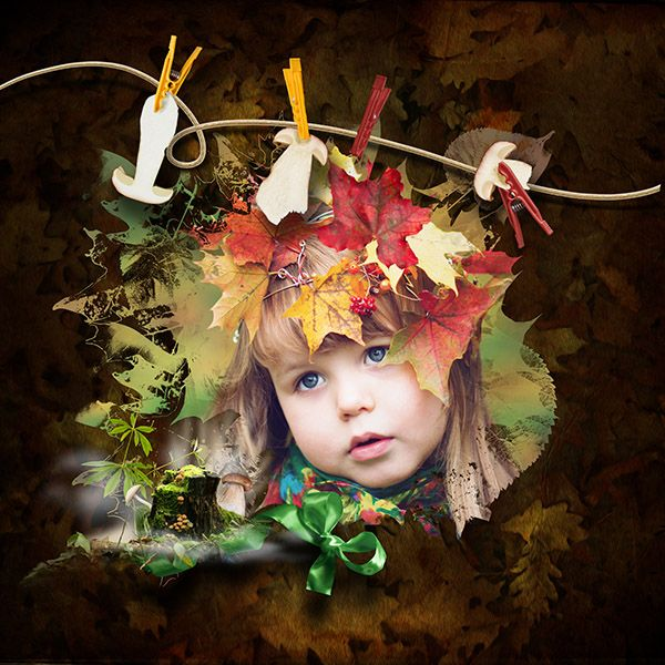 digiscrapbook kit Stumpy story full of fall, leaves, mushrooms   + minikit shine of fall