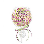 Too Cute! lollipop wrapped in cellophane with ribbon ties!  Itty Bitty Co.