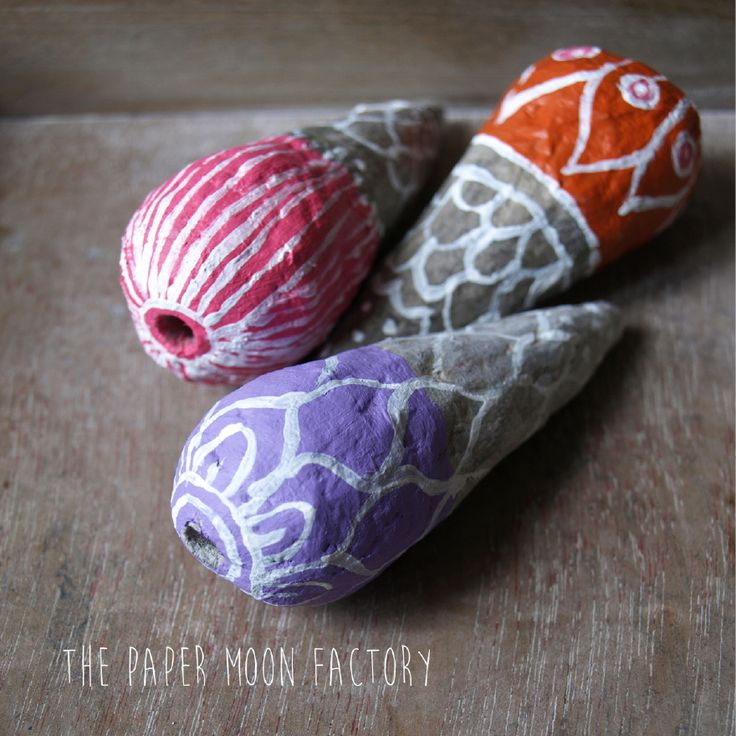 Paper mache beads. Handmade and decorated.
