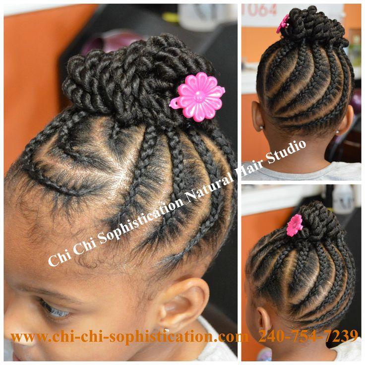 Cornrows & Twist Bun for Children. #NaturalHair #TexturedHair #KidsHairStyles #Cornrows