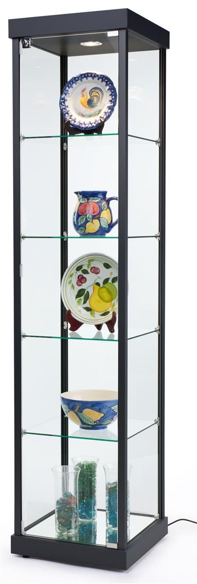 "18"" Glass Display Case w/4 Fixed Shelves, Locking Hinged Door & Top Lights - Black"