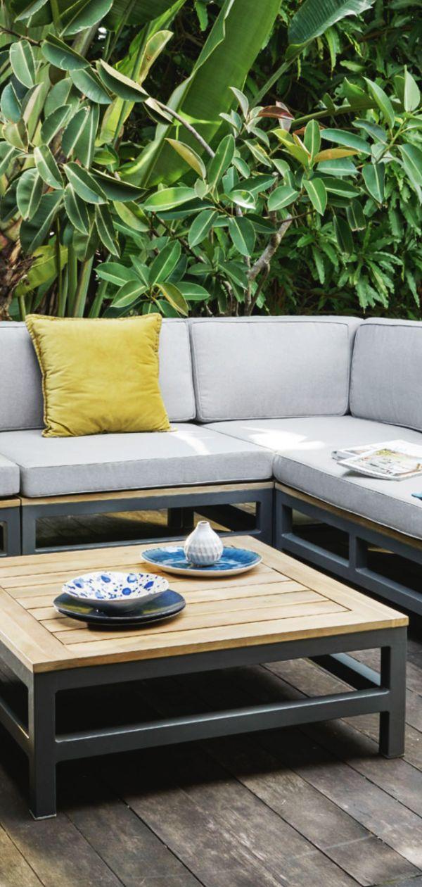 Outflexx Ecklounge Anthrazit Alu Akazie 5 Personen Inkl Polster In Grau Tisch 80 X 80 Cm Und Hocker 21016 Lounge Tisch Lounge Lounge Garnitur