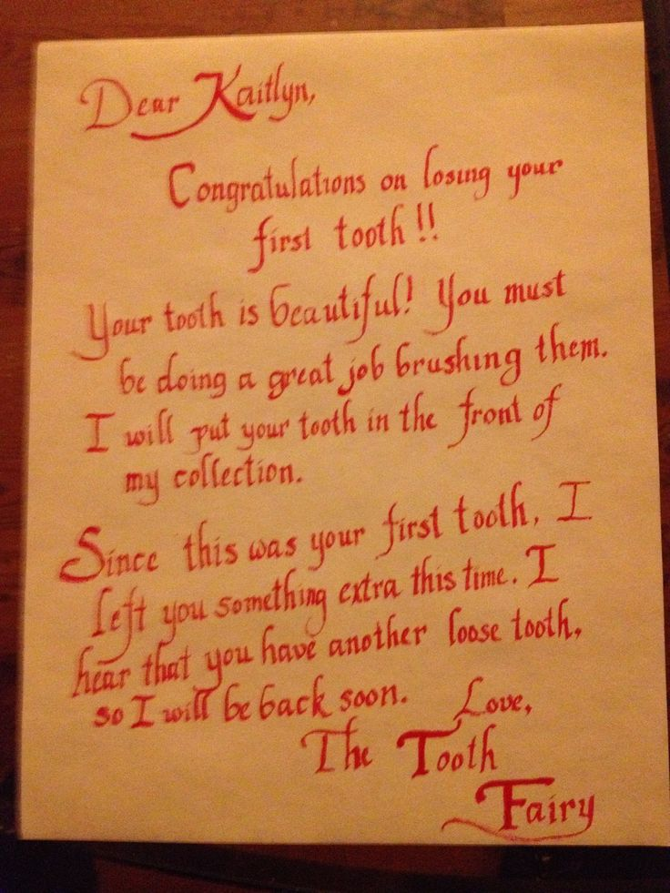 Letter from the Tooth Fairy                                                                                                                                                                                 More