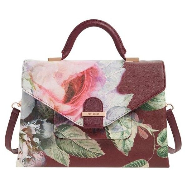 Women's Ted Baker London Floral Print Faux Leather Satchel ($219) ❤ liked on Polyvore featuring bags, handbags, ted baker, oxblood, vegan leather handbags, vegan leather purses, floral handbags, vegan handbags and floral purse