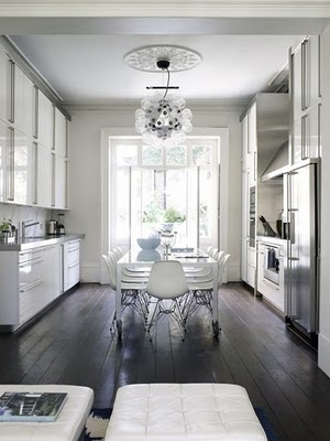 Dark floors and white gloss kitchen mmm... The chairs again