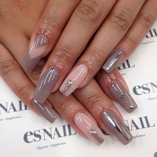 Nails by esnail_la | Nude with negative space & studded nail art