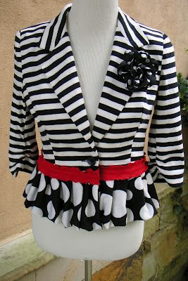 I just did a refashion on a jacket just like this one.  May have to add the red to it.  Taking a jacket and tee from fun to fabulous