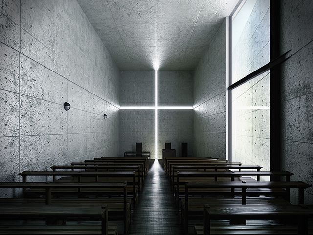 Simple and powerful church of light by architect Tadao Ando.