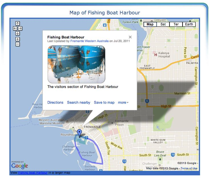 Map of Fishing Boat Harbour, Fremantle, Western Australia