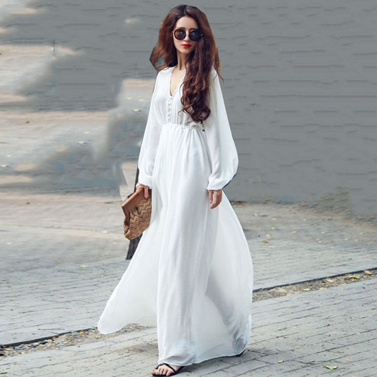Vendy white v-neck sexy long sleeve mori girl silk chiffon beach dresses maxi womens bandage luxury vestidos largos de verano *** To view further for this item, visit the image link.