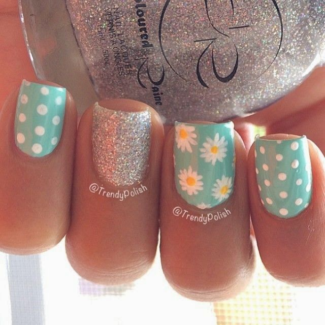Flowers glitter and polka dots