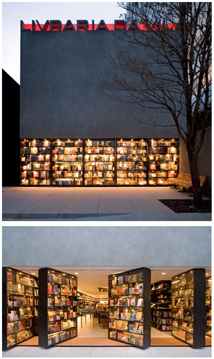 Bookstore in Sao Paolo Brazil >>> This is awesome - the doors to the bookstore are shelves!