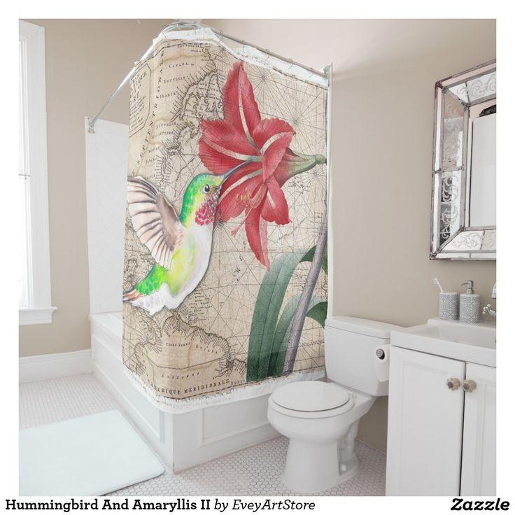 Hummingbird And Amaryllis II Shower Curtain