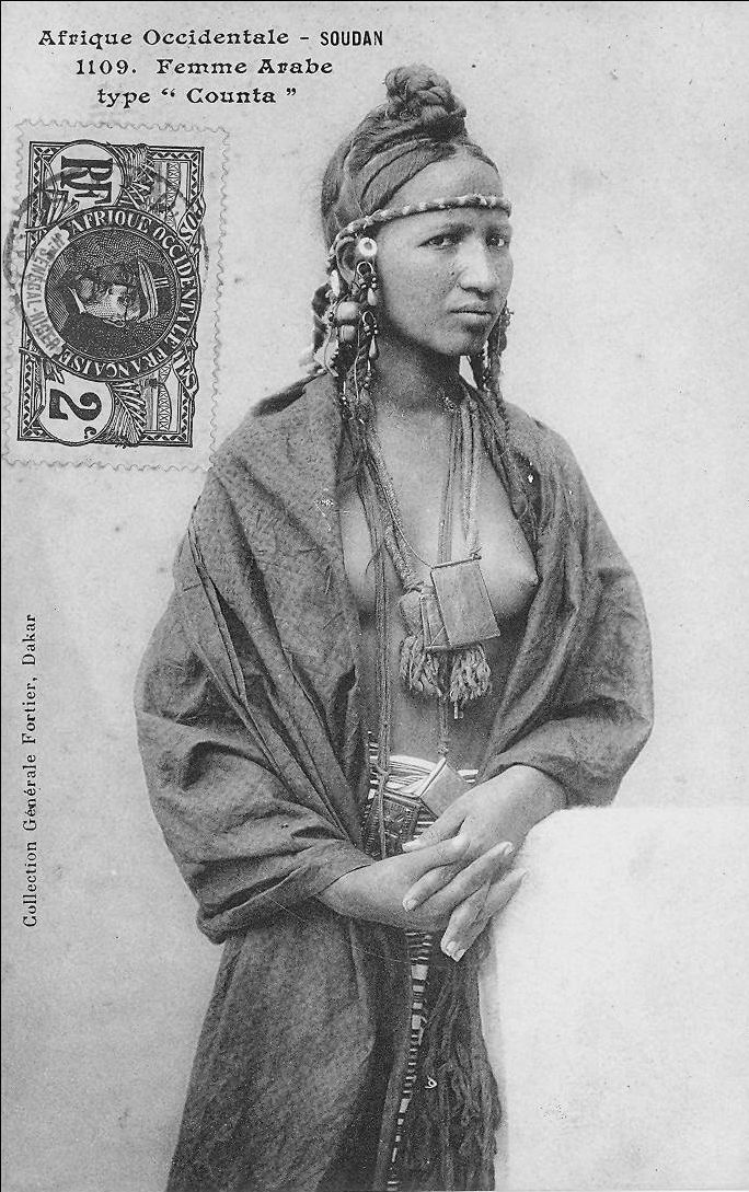 "Africa | ""Femme Arabe type Counta"". French Sudan (now Mali) 