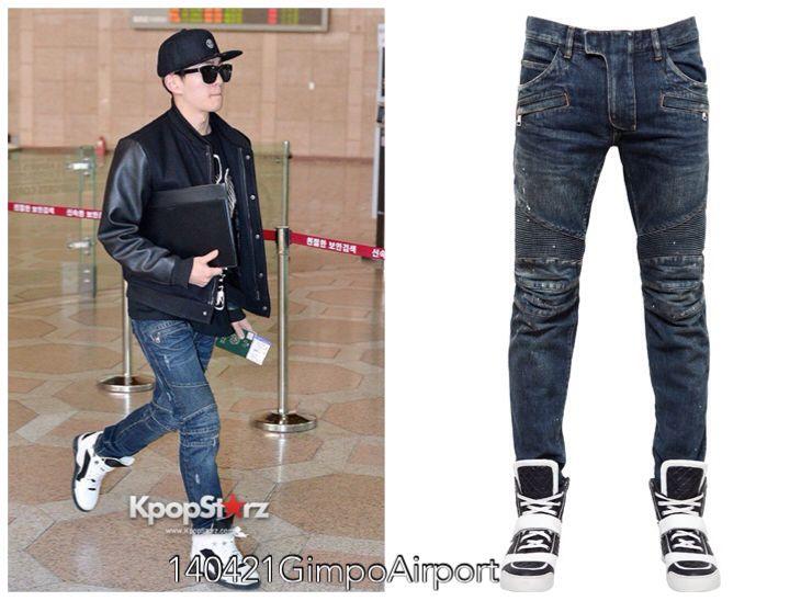 140421 Onew GimpoAirport BALMAIN washed&painted cotton denim jeans
