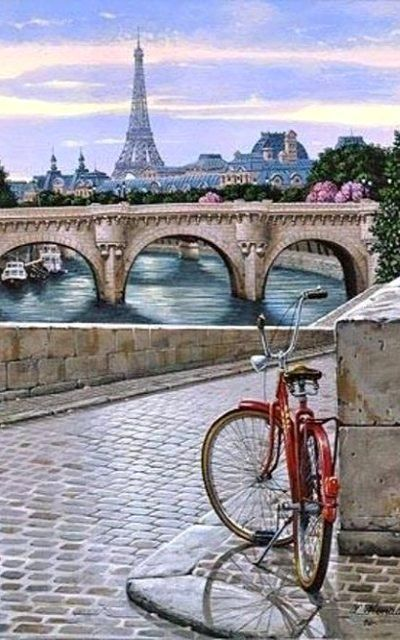 Red bicycle on the cobbled bank of the Seine, Paris, France