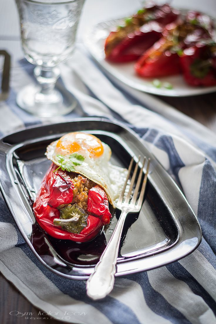 Roasted peppers with bulghur, lentils and chorizo