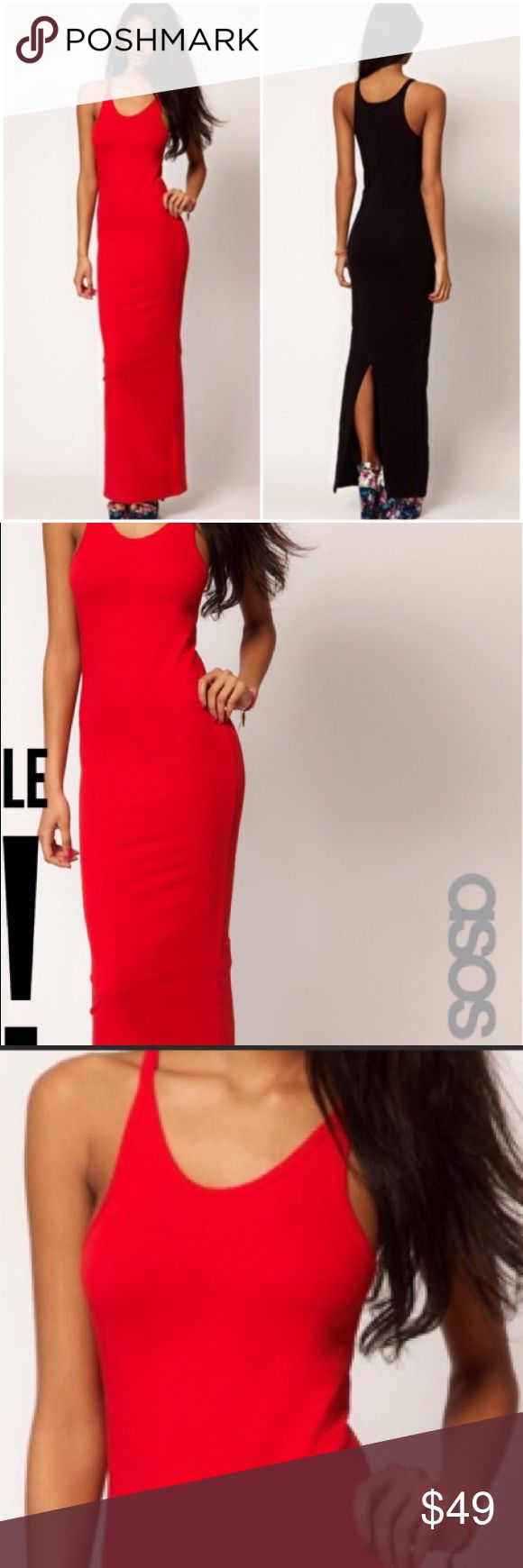 """NEW ASOS RED HIGH SLIT VERY HOT/SEXY MAXI DRESS THIS IS THE COOLEST DRESS BY ASOS! IT NEW CONDITION WITH SEXY HIGH BACK. SLIT~NOT FOR SHORTY'S BECAUSE IT'S TO THE FLOOR IN ME AT 5'9"""".HIGH SLIT ADDS TO THE HOTNESS!! MEDIUM BUT FITS TALL SMALL TOO. ON LINE PURCHASE SO NO TAGS ASOS Dresses Maxi"""