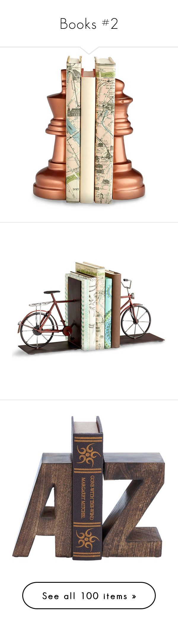 """""""Books #2"""" by montse-gallardo ❤ liked on Polyvore featuring home, home decor, small item storage, chess, cyan design, transitional home decor, decor, bicycle sculpture, wire sculpture and bicycle bookends"""