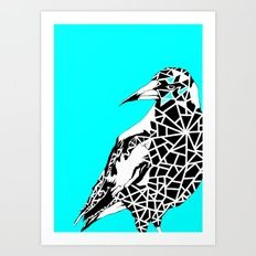 Minty Magpie Giclée art print by Kerise Delcoure. This design depicts an Australian Magpie bird stylised with bold lines and geometric patterns.The original artwork was created with acrylic paint on canvas. Available at https://society6.com/kerisedelcoure.