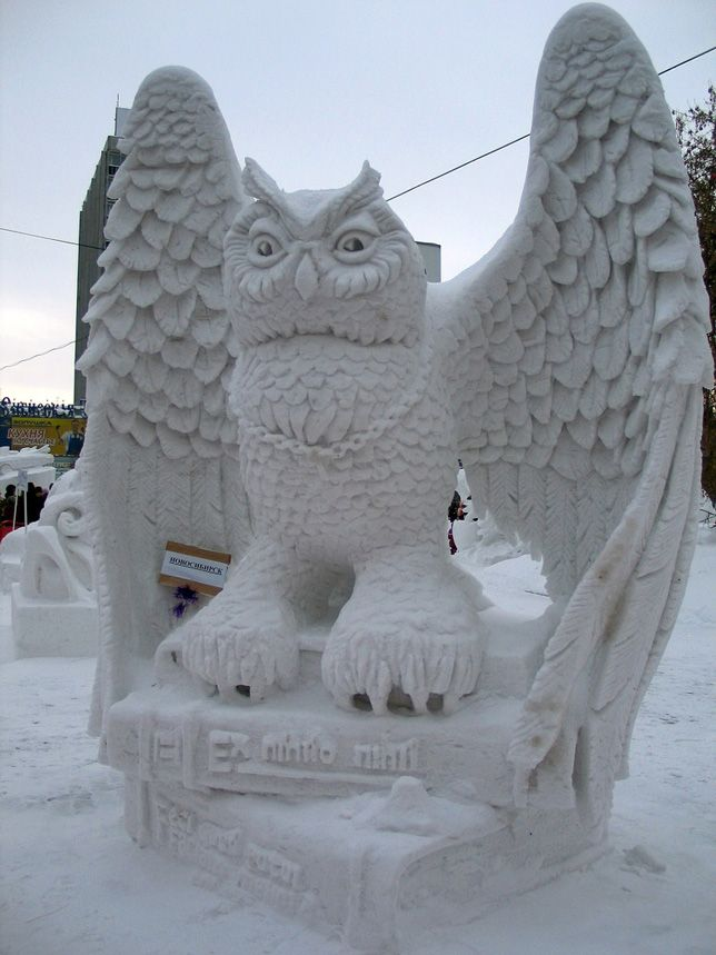 "This intricate snow sculpture of an owl won the Siberian Snow Sculpture Festival in Novosibirsk, Russia in 2010. See more incredible sculptures that'll give you goosebumps with ""Mother Nature Network"". (photo: Rina Sergeeva)"