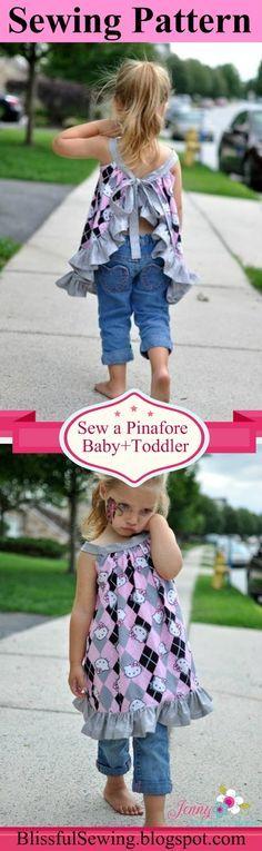 Pinafore Sewing Pattern, Newborn to 4 Years, Baby, Toddler Pattern #pinafore #sewing #pattern #girls #toddler #infant #kids #children #dress #top #ruffles #baby #easy #beginner #how to sew #stitching #tutorial