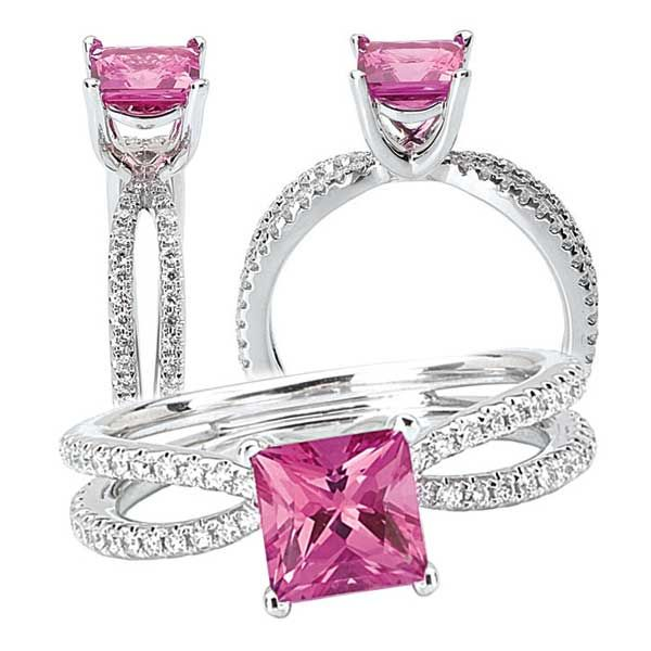 18k Chatham 5.5mm princess cut pink sapphire engagement ring with split shank