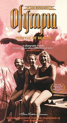 """""""Olympia"""" c.1938; film by Leni Riefenstahl, of the 1936 Summer Olympics in Berlin, Germany. It was the first documentary feature film of the Olympic Games ever made. Many advanced motion picture techniques, which later became industry standards but which were groundbreaking at the time, were employed, including unusual camera angles, smash cuts, extreme close-ups, placing tracking shot rails within the bleachers, and the like.  Olympia Poster.jpg"""
