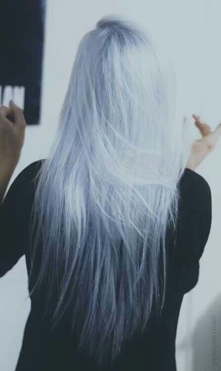 White Hair - with a bit of blue and/or silver | Fine, thin locks. Razored ends…