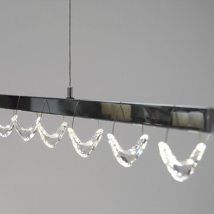 One by One LED Linear Pendant. Offers a clear, warm downlight with high quality LEDs. No winter blues with this! Bring some sparkle into modern design with #Swarovski #crystal elements.
