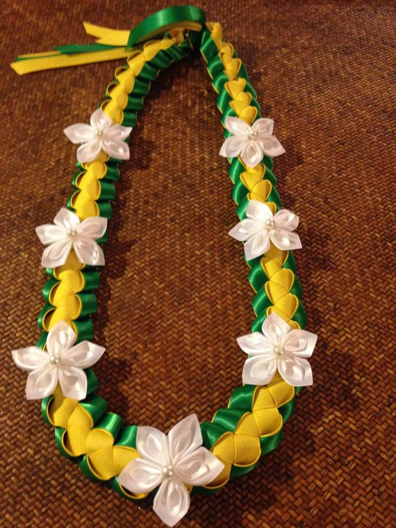 Green, Yellow and White Island Ribbon Lei with Flo…