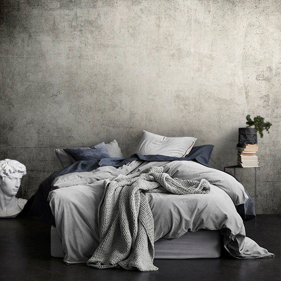 Dark Gray Grunge Wall Mural Peel And Stick Wallpaper Black Etsy Black And Grey Bedroom Gray Painted Walls Black And White Decor
