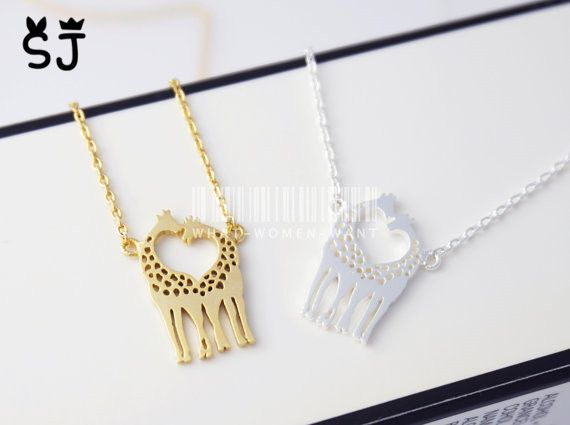 5PCS  N019 Cute Long Deer Necklace Heart Loving Giraffes Necklace Lovely Twin Giraffe Necklaces Animal Jewelry for Couples-in Pendant Necklaces from Jewelry & Accessories on Aliexpress.com | Alibaba Group