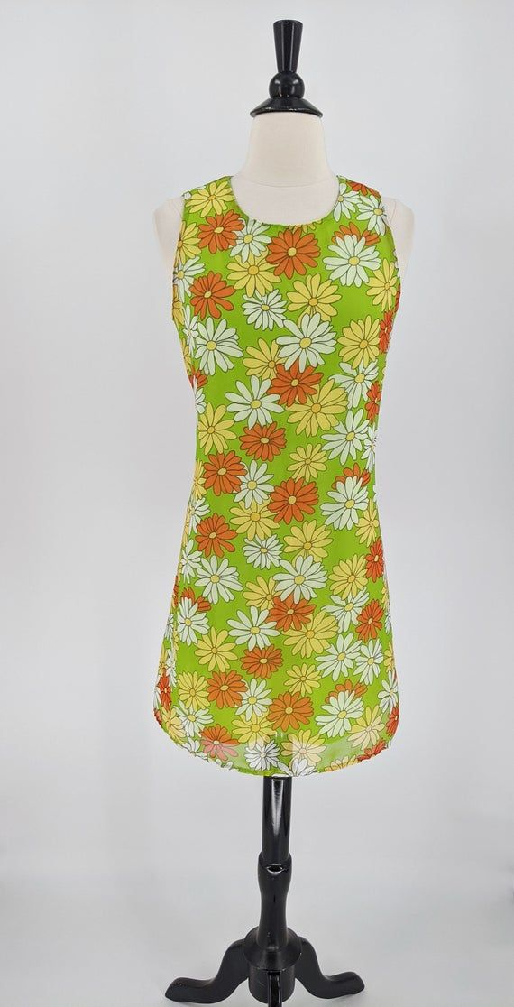 1970s mod daisy flower shift dress medium flower power purple green alex coleman
