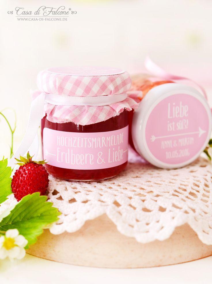 Hübsche, personalisierte Etiketten für Hochzeitsmarmelade I Gastgeschenk I wedding jam I wedding favor I Casa di Falcone