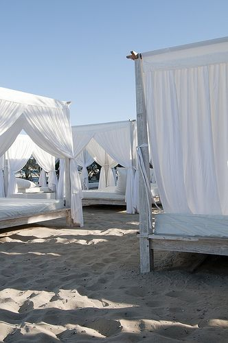 Ushuaia Ibiza Beach Club Restaurant ... to lie on a sun lounger with the curtains flapping in the breeze.
