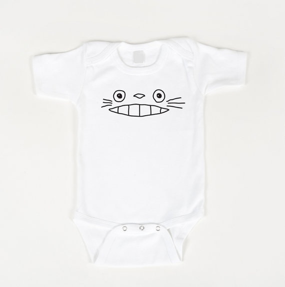 Totoro bodysuit white  Anime inspired by geeklingdesigns on Etsy, $16.00: Baby Totoro, Baby Lilies, Baby Stuff