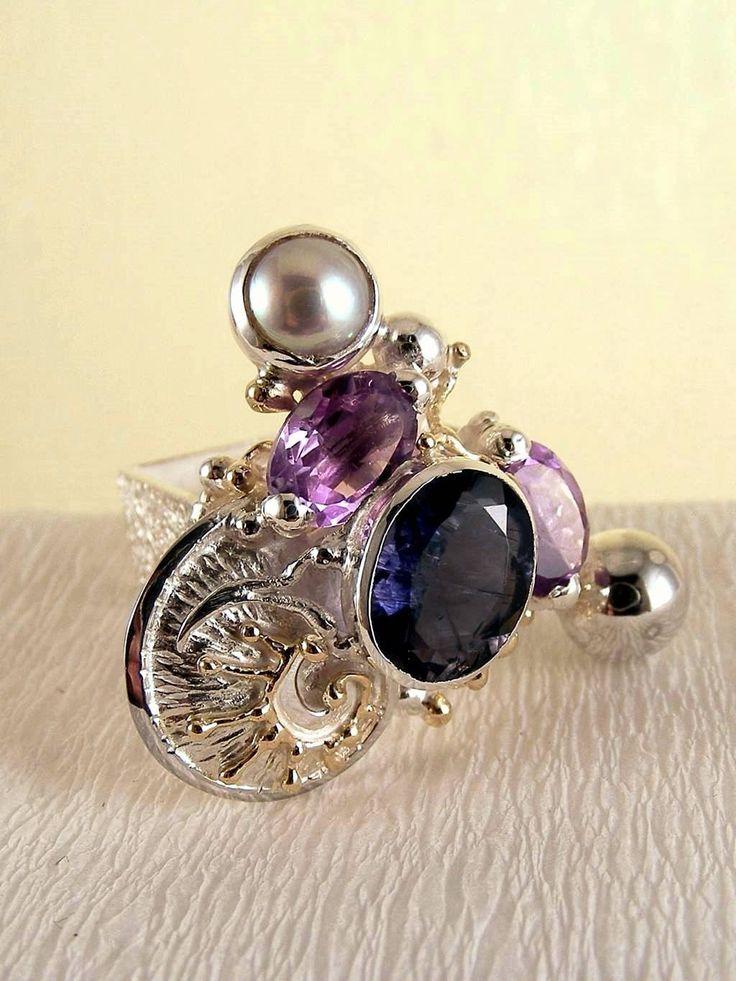 gregory pyra piro #smykkekunst firkantede #ring sterling #sølv og #gull med #edelsten