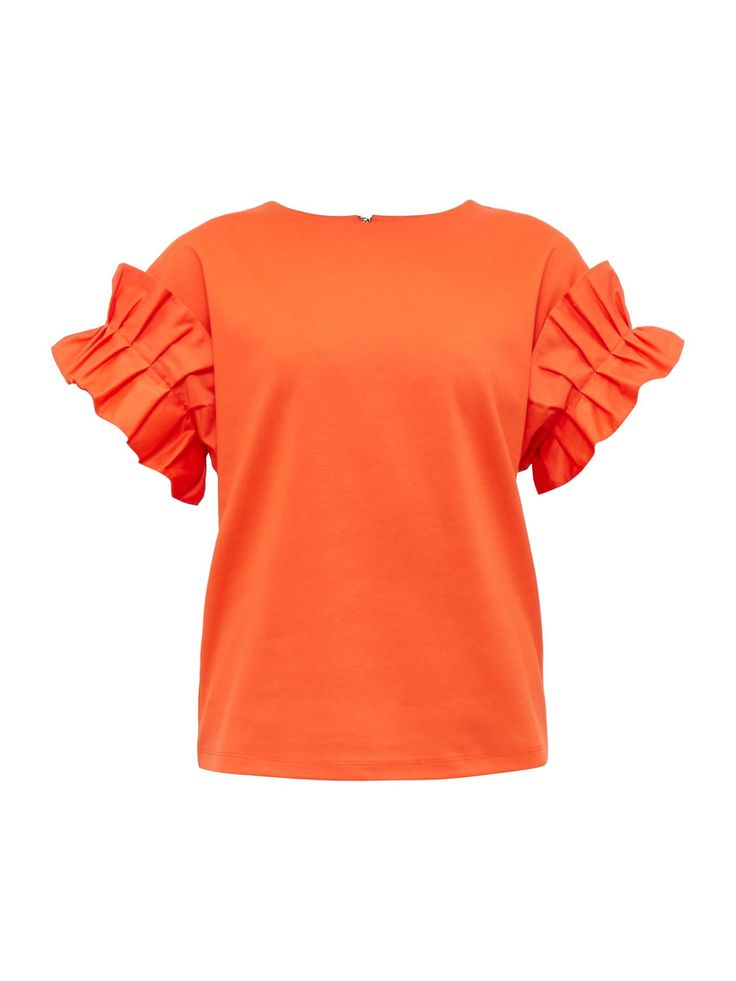 Ted Baker Pialay Crew Neck Ruffle Cotton-blend Top - House of Fraser